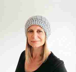 Lacy Slouch Beanie Looking at Camera