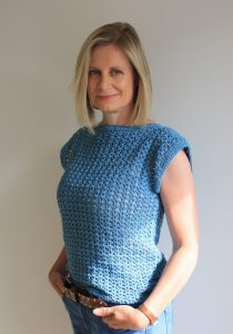 Crochet Tee on lady with jeans